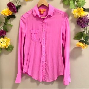 Joe Fresh Bright Pink 100% Silk Button Down Shirt